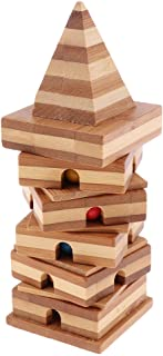 Flameer Wooden Intelligence Toy Kong Ming Lock Brain Teaser Game - Bamboo Pyramid