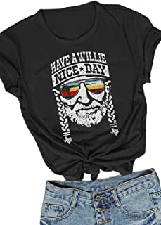 KIDDAD Women's Have a Willie Nice Day Letter Print Graphic T-Shirt Short Sleeve Sunset Shades O-Neck Casual Tee Tops