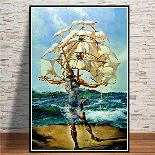 Poster Und Drucke Retro Psychedelische Malerei Salvador Dali Surrealismus Wandkunst Abstrakte Bilder Für Wohnzimmer-Kein Rahmen 40x50 cm