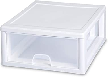 Sterilite 2301 16 Quart Clear Plastic Stacking Storage Drawer Container Box (12 Pack)