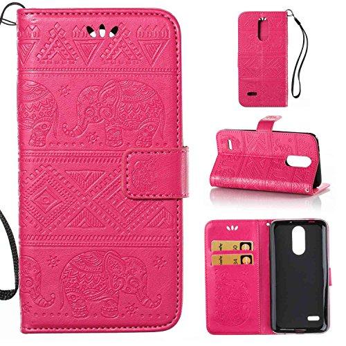 pinlu Schutzhülle Für LG K4 2017 (Euro Version) Handyhülle Hohe Qualität PU Ledertasche Brieftasche Mit Stand Function Elefanten Muster Rose Rot