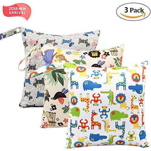 '3 Pack Baby humide et chiffon sec Sacs à langer étanche réutilisable avec poches à fermeture éclair, 11 x 11,8, animaux, 3 Pack, Animal2, 3