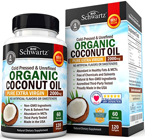 Organic Coconut Oil - Healthy Skin, Nails, Weight Loss, Hair Growth - Virgin, Cold Pressed, Unrefined Non GMO - Rich...