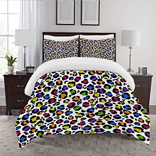 LENYOVO Duvet Cover Set-Bedding,Rainbow Leopard Print Seamless Pattern,Quilt Cover Bedlinen-Microfibre 200x200cm with 2 Pillowcase 50x80cm