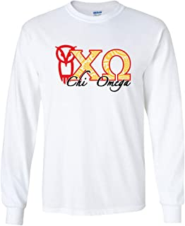VictoryStore Apparel - Chi Omega, Paisley Greek Letters Long Sleeve T-Shirt