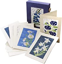 Set Of Six Assorted Handmade Paper and Waxed Cotton Blank Greeting Cards 'Blue Batik Card Set'
