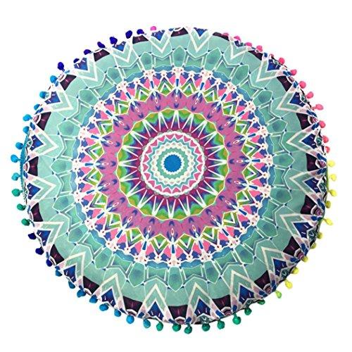 Funda de cojín grande y redonda para el suelo, de la India, diseño de Mandala, poliéster, Multicolor I, 80x80cm