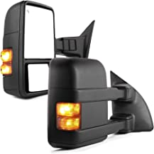 YITAMOTOR Towing Mirrors for 99-07 Ford F250/F350/F450/F550 Super Duty, 01-05 Excursion Pair Set Extendable Smoke Power Heated with LED Signal Light Side Mirrors