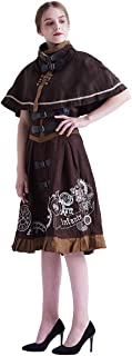 BLESSUME ガールズコスチュームジャンパースカートと マント レ―ディスドレス 可愛い ロリ-タ衣装 ワンピース 洋服 (M, Brown)