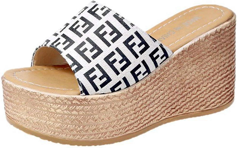 GIY Women's High Heels Platform Mules Peep Toe Clogs Slip on Roman Cork Wedge Sandals Slide shoes Slipper