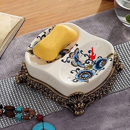 ACAMPTAR Zeepbakjes Badkamer Zeep Vaatwasser houden zeep droog Thuis keramische dual use drain zeep gerechten badkamer zeepschaal hars zeep box basis tray-ceramic_soap_dish_C