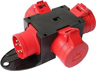 Adapter Stromverteiler CEE 16A 400V - 3 x 16 A Baustromverteiler Verteiler Steckdosenverteiler 0812