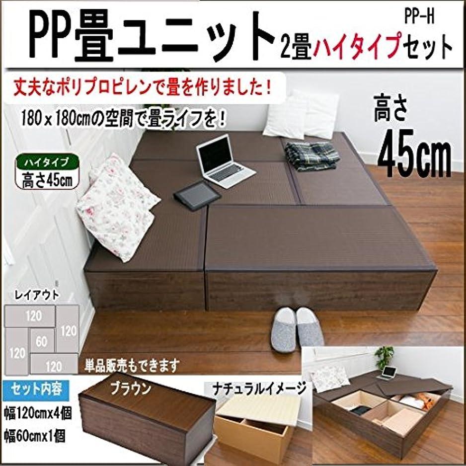 完全に手のひら柔らかさPP畳ユニット(2畳分) ハイタイプ5点セット(PP-HA) (ナチュラル)