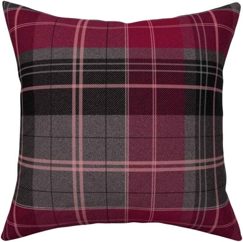 Roostery Throw Pillow Plaid Tartan Check Berry Magenta Grey Preppy Print Linen Cotton Canvas Knife Edge Accent Pillow 18in X 18in With Insert Home Kitchen