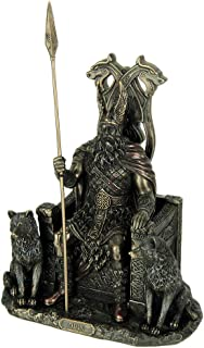 Veronese Design Resin Statues Norse God Odin On Throne with Wolves Bronze Finished Statue 7 X 10.25 X 4.75 Inches Bronze
