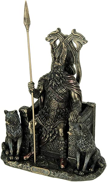 Veronese Design Resin Statues Norse God Odin On Throne With Wolves Bronze Finished Statue 7 X 10 25 X 4 75 Inches Bronze