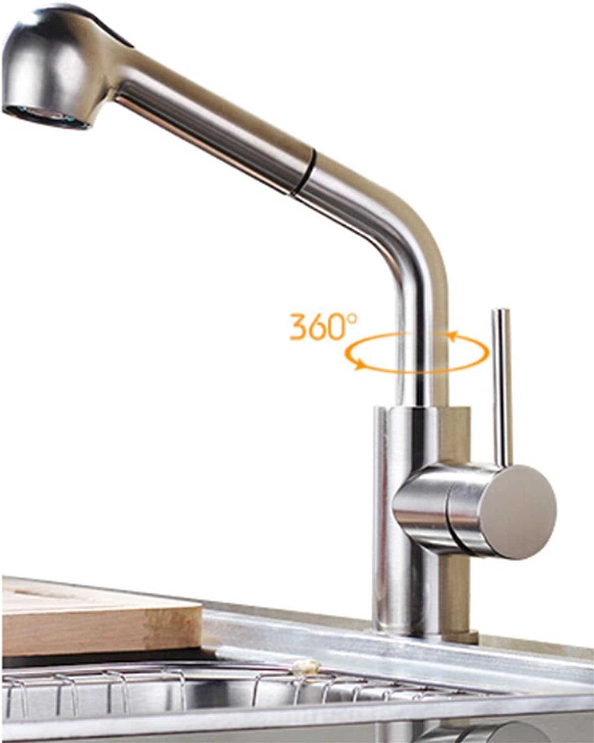 Hot and cold pull kitchen faucet full copper telescopic pull type redation, 1