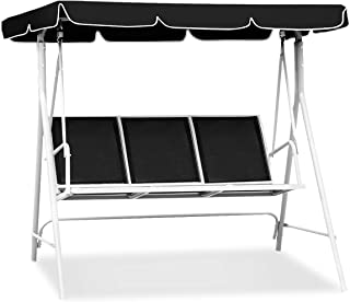 Tangkula 3-Person Patio Deck Swing Chair Bench W/Canopy Outdoor Sling Chair Weather Resistant Powder Finish (Black)