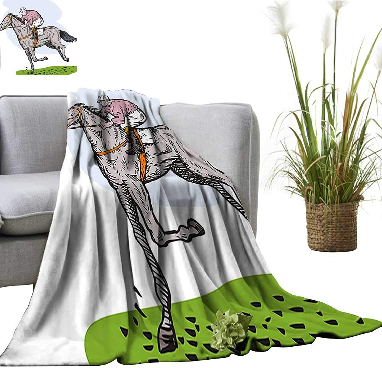 YOYI Digital Printing Blanket Horse Racing Theme Jockey Pony Stallion Riding on Field Retro Illustration Better Deeper Sleep 60 x70