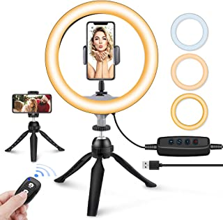"10"" LED Ring Light with Tripod Stand & Phone Holder, UBeesize Dimmable Desk Makeup Ring Light, Perfect for Live Streaming & YouTube Video, Photography, 3 Light Modes and 11 Brightness Levels"