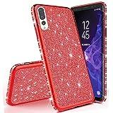 Miagon für Huawei P20 Pro Glitzer Hülle,Bling Überzug Glänzend Strass Diamant Weich TPU Silikon Handy Hülle Etui Tasche Schutzhülle Case Cover -