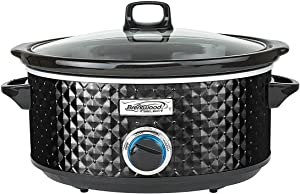 Brentwood SC-136BK 190W 3.5 Quart Adjustable Temperature Dishwasher Safe Kitchen Slow Cooker Pot with Clear Glass Lid, Diamond Black