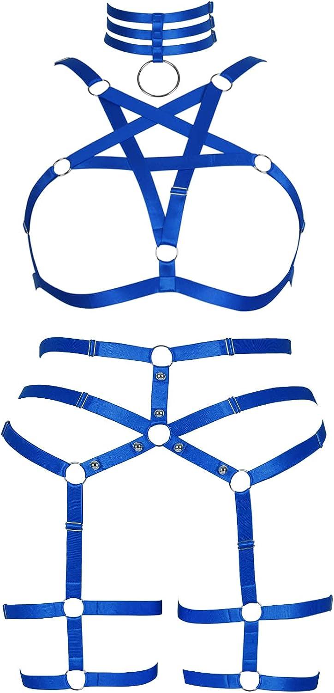 Philadelphia Mall Plus Size Woman Lingerie Garter Belt Cage Full Popular brand Set Pentagram Bod