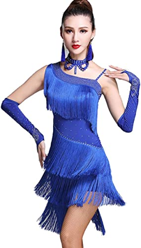 YZLL Costume de Danse Latine, Tassel Robe de Danse Latine Robes de Danse Latine-Salsa, Rumba, Costumes,bleu,XL