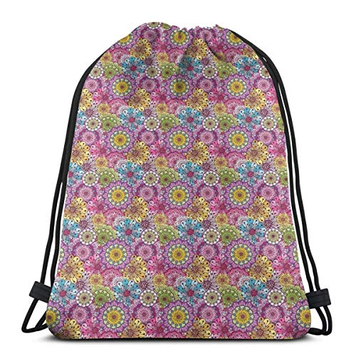 Jiger Drawstring Tote Bag Gym Bags Storage Backpack, Abstract Flowers of Spring Blossoming Nature Composition Vintage Romantic Bouquet,Very Strong Premium Quality Gym Bag for Adults & Children