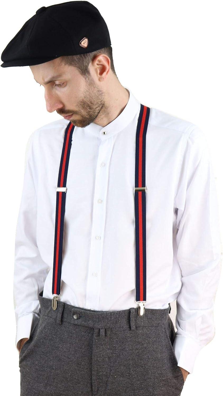 Mens Vintage Check Stripe Trouser Braces Suspenders 1920s Gatsby Blinders