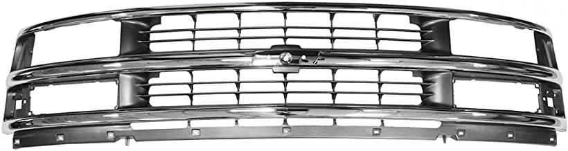 Grille Grill Chrome & Argent Gray for 96-02 Chevy Express 1500 2500 3500 Van