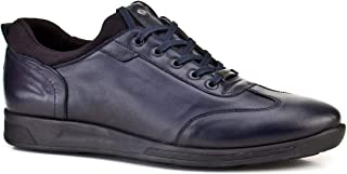 Cabani Streç Detaylı Bağcıklı Günlük Erkek Ayakkabı Lacivert Deri