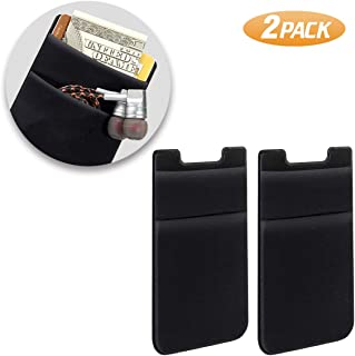 SHANSHUI Phone Card Holder, Double Slots Secure Lycra Spandex Slim Adhesive Stretchy Credit Card Holder Case Stick On Pouc...