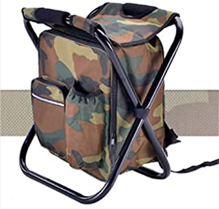 KH Folding 3 in 1 Stool Backpack Folding Stool with Cooler Bag - Outdoor Multifunction (Camouflage)