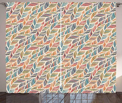 ABAKUHAUS Boho Rustikaler Gardine, Abstrakte Federwelle, Schlafzimmer Kräuselband Vorhang mit Schlaufen und Haken, 280 x 260 cm, Mehrfarbig