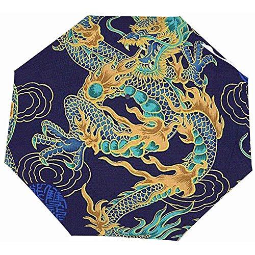 EW-OL-Automatic tri-fold umbrella Lustige automatische geöffnete Golf-Regenschirme - kompakter Leichter Reise-Taschenschirm - brennender lodernder Feuer-Chinese-Drache