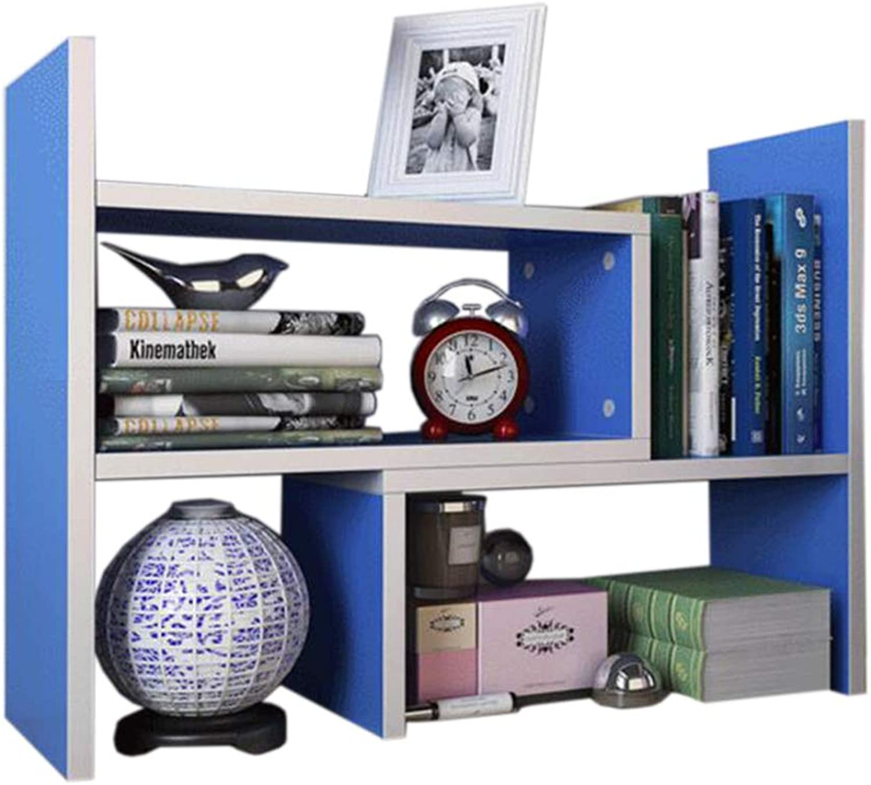 JCAFA Shelves Adjustable Desktop Bookcase DYI Assembly Countertop Bookcase Office Supplies Telescopic Office Storage Rack (color   bluee, Size   70  16  44cm)