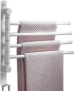 Beelee Swivel Towel Bar with Hook Towel Racks for Bathroom Towel Bath Holder 4-Arm Storage Organizer Space Saving Wall Mount,White