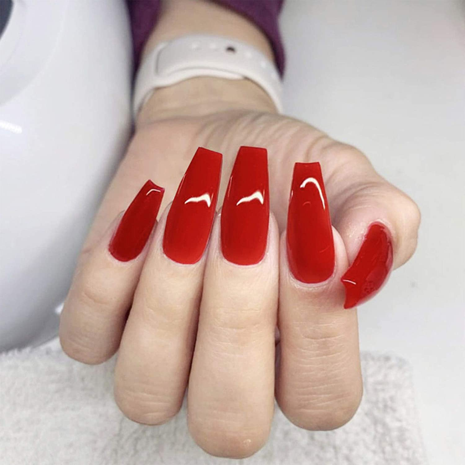 YienDoo Glossy Coffin price False Nails Color B Opening large release sale Red Long Acrylic