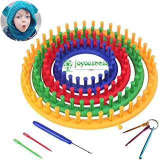 JOYOUSNESS Set of 4 Round Hat Weaving Tool Kit Wool Set Loom Knitting Gauge Hand Made Sweater Lazy Tool DIY Crochet Kit Hat Scarf Shawl Sweater Sock Maker Suitable for Beginners No Foundation Elder