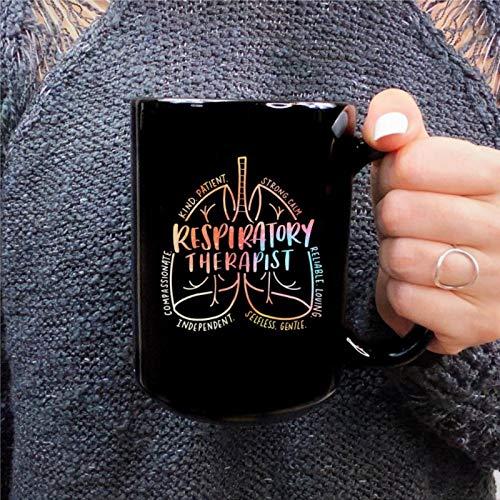 Taza de café divertida con diseño de corazón para terapeuta respiratoria, taza de té de cerámica, regalo de cumpleaños para hombres y mujeres