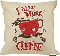 غطاء وسادة القهوة من HGOD ديزاينز، ملصق فنجان قهوة مضحك أنا بحاجة إلى المزيد من القهوة القطن الكتان أغطية الوسائد ديكور ال...