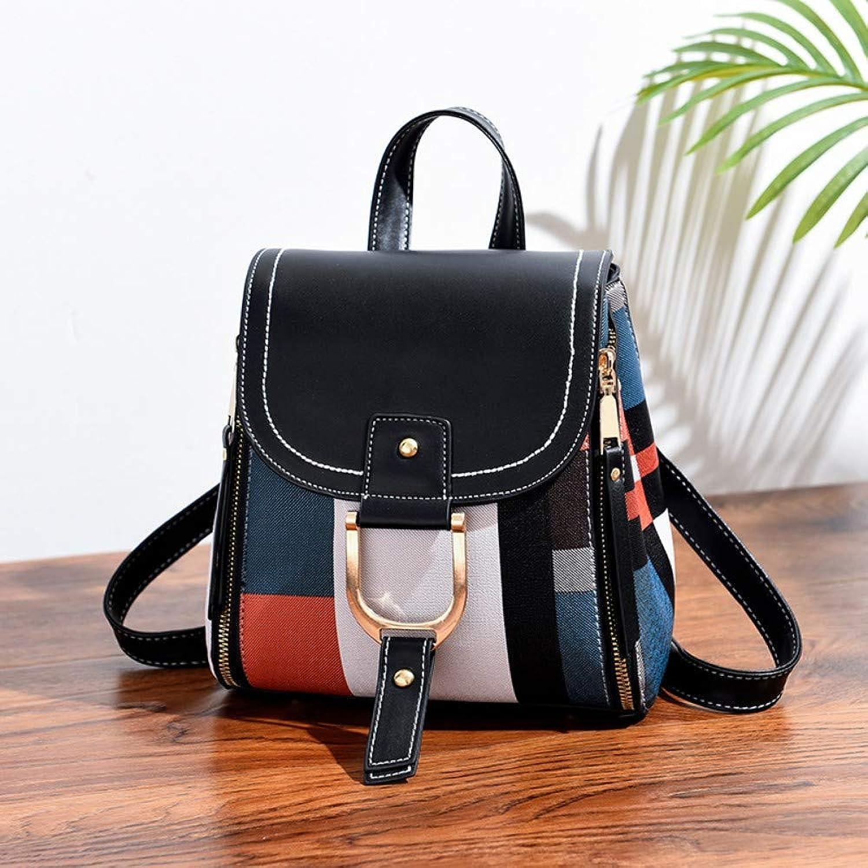 Women Shoulder Bag,Ladies Plaid Handbags Crossbody Bag,Fashion Vintage Messenger Bags,Female Classic TopHandle Bags Multifunction Travel Backpack Black