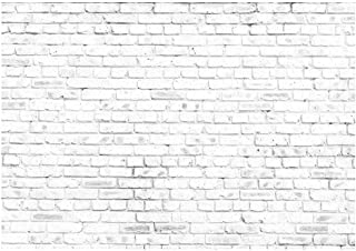 Funnytree 7X5ft White Rustic Brick Wall Backdrop for Birthday Wedding Festival Themed Party Photography Background Retro Block Newborn Baby Adult Portrait Photo Studio Props Decorations Banner