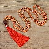 stone natural beaded 108 collana mala collana yoga meditazione collana lunga collana annodata collana a mano gioielli fatti a mano