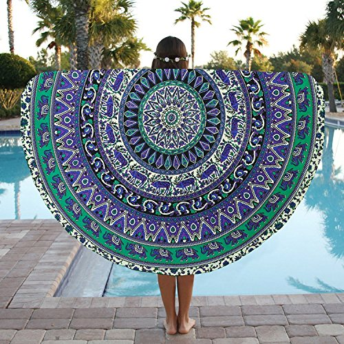 Round Beach Towel Elephant Mandala Roundie Beach Throw Tapestry Hippy Boho Gypsy Cotton Tablecloth Round Yoga Mat by Jaipur Handloom