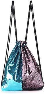 Women Double Color Sequins Drawstring Backpack Sport Running Sport Running Bag Camping Beach Female Bags