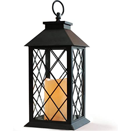 TERESAS COLLECTIONS Hanging Solar Lantern Lights with Flickering Lights and Baroque Pattern for Outdoor Patio Yard Decorations