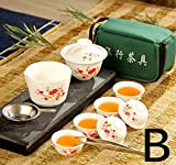 Emousport Chinese Travel Kung Fu Tea Set Ceramic Portable Teacup Porcelain...