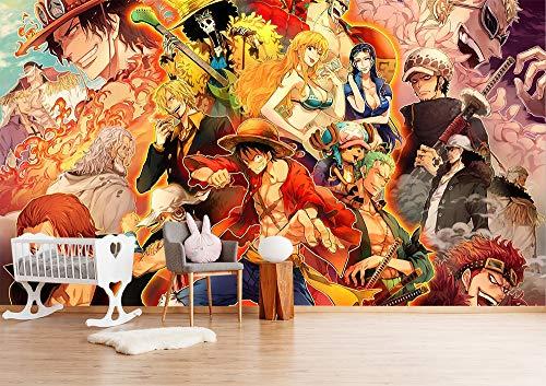Blovsmile One Piece Monkey.D.Luffy/Portgas.D.Ace/Roronoa Zoro 3D Fotomural Papel tapiz Póster Habitación de los niños Sala de estar Decoración Mural-350 * 280
